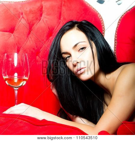 Glamour Woman With Wine