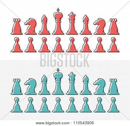 Flat design outline chess silhouettes. Collection of the king, queen, bishop, knight, rook, and pawn