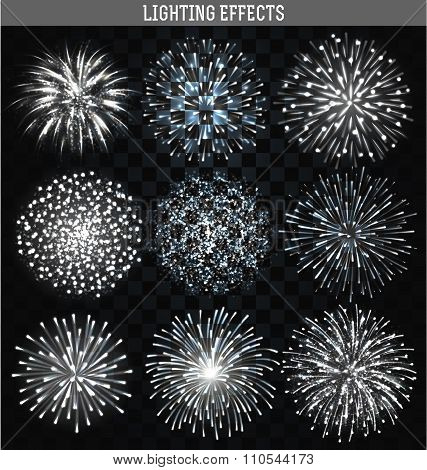 Set 9 realistic fireworks different shapes. White festive, bright firework