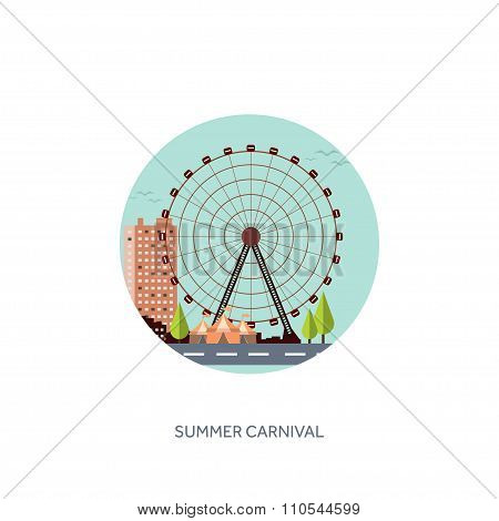 Vector illustration. Ferris wheel. Summer carnival. Funfair background. Circus park. Roller coaster.
