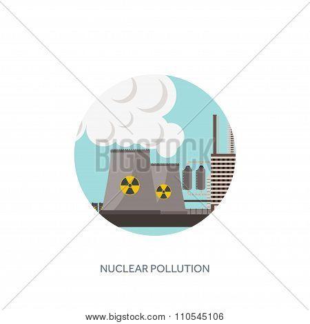 Vector illustration. Urbanisation, industrialisation. Industrial revolution. Pipe. Air pollution. Oi