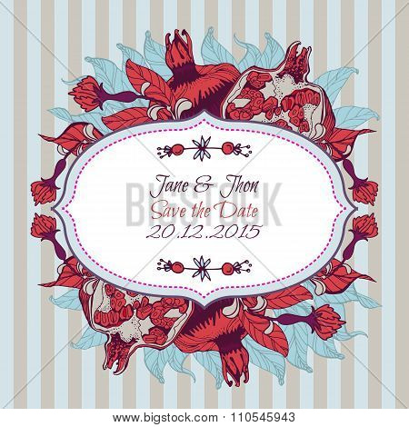 Bright pomegranate postcard, banner or lable