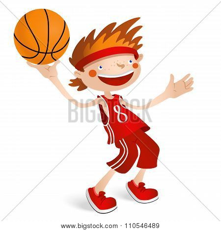 Smiling basketball player boy with a ball.