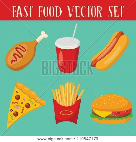Set of 6 fast food objects