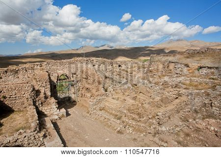 Destroyed City Gates And Stone Walls Around Historical Zoroastrian Fire Temple Takht-e Soleyman In I