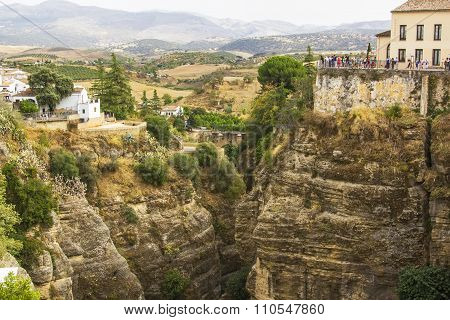 background landscape view of the valley with rocks and the valley in Ronda, Andalusia, Spain