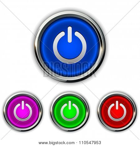 Power buttons icons, buttons vector design.