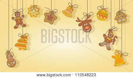 Christmas Gingerbread Cookies Hanging On The Ropes Vector Background