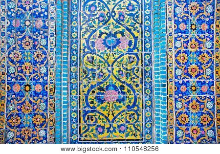 Pattern With Colorul Flowers On The Tile On The Wall In Iran