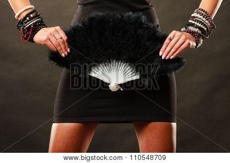 Woman Evening Dress With Black Fan In Hand