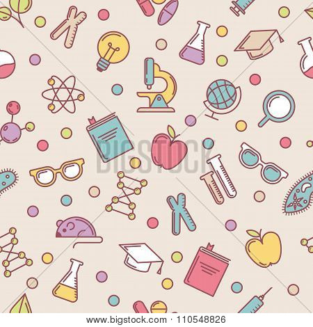 Vector Colorful Seamless Pattern With Flat Illustrations Of Science, Education And Research Tools.