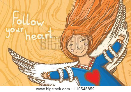 Vector Illustration With Angel - Follow Your Heart