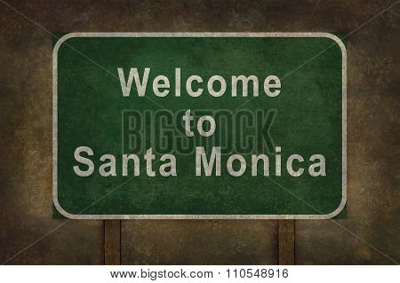 Welcome To Santa Monica Roadside Sign Illustration