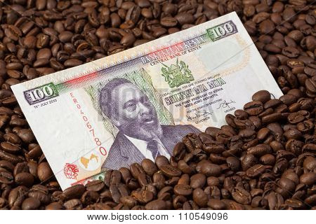 Coffee Beans And Kenya Banknote