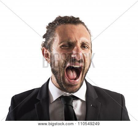 Furious businessman screaming