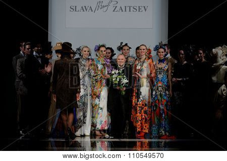 ST. PETERSBURG, RUSSIA - OCTOBER 28, 2015: Slava Zaitsev (center) with his collection at the fashion show during Mercedes-Benz Fashion Day St. Petersburg, one of the most popular city's fashion events
