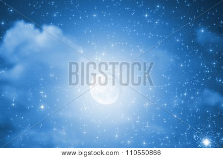 Moon with clouds and stars.