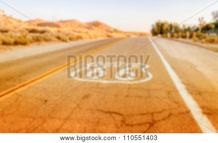 Defocused Background Of Historic Route 66 In California