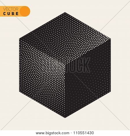 Vector Black And White Dotted Isometric Cube Shape Stippling Halftone Shading