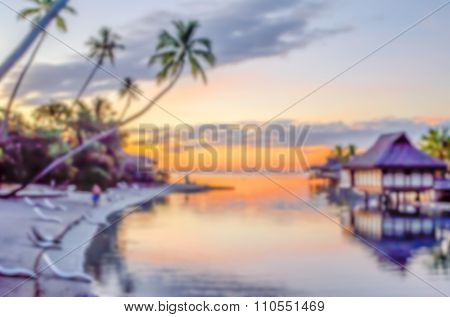 Defocused Background Of Tropical Sunset In French Polynesia
