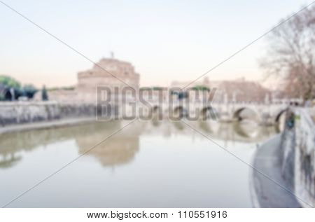 Defocused Background Of St Angelo Castle And Tevere River In Rome
