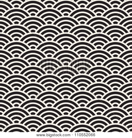 Vector Seamless Black And White Rounded Concentric  Arcs Wi-fi Sign Pattern