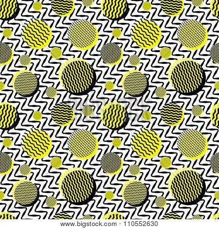 Vector Seamless Black White Yellow Vintage  Wavy Lines And Circles Jumble Pattern