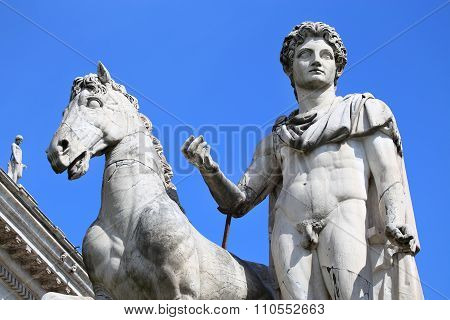 Statue Of Castor In Rome, Italy