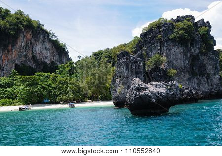 Two Boats On The Small, Secluded Beach Of The Trees Covered Island. Koh Hong Island At Phang Nga Bay