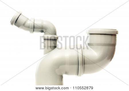 New gray plastic pipe on white