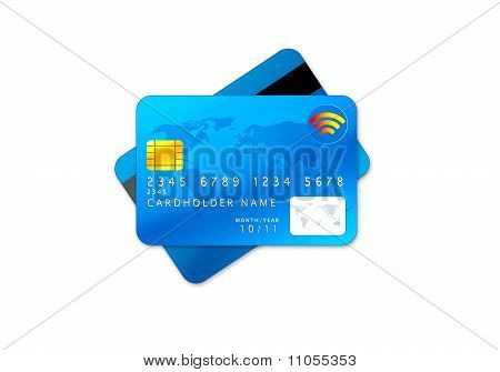 Blue Credit Cards Isolated On White