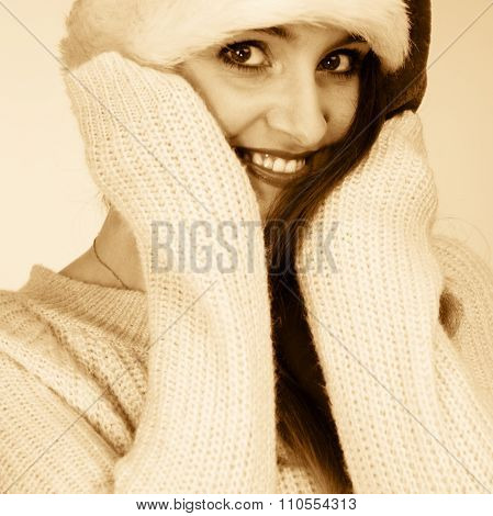 Woman Wearing Santa Claus Hat Portrait.