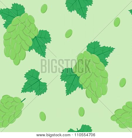 Seamless Pattern with White Grapes on Light Green Background
