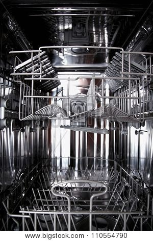 View Of The Interior Of An Empty Opened Dishwasher
