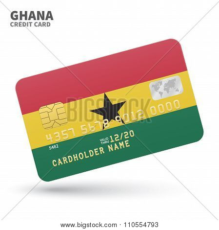 Credit card with Ghana flag background for bank, presentations and business. Isolated on white