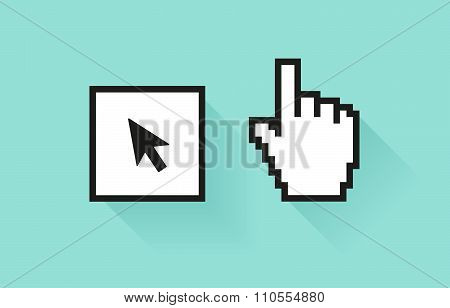 Set of social media icon. Pixel hand and botton with cursor arrow.