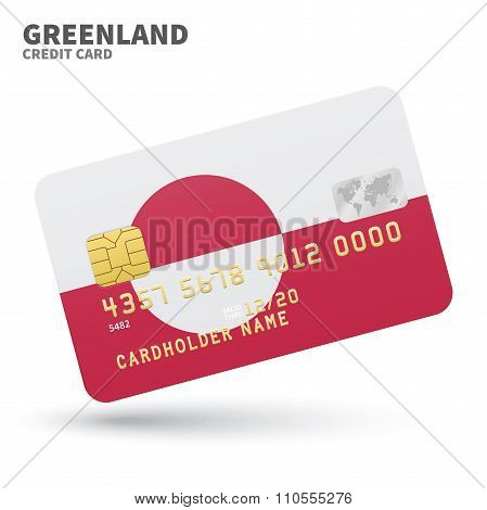 Credit card with Greenland flag background for bank, presentations and business. Isolated on white