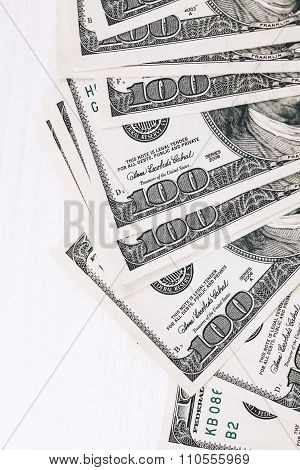 Money on wooden table