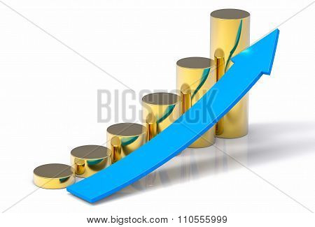 3D Isolated Sales Increase Concept Background