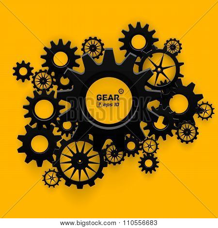 Abstract black gear wheels symbol on bright yellow background for business design, technology, setti