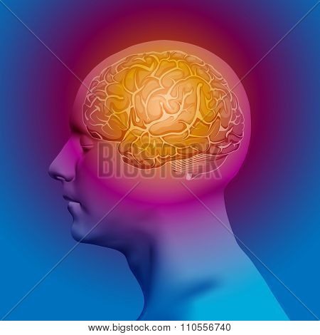 Abstract Human Head with a Brain. Vector Illustration