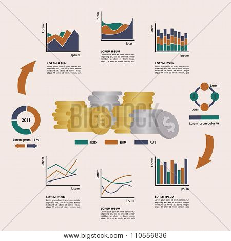 Set of Financial Infographics Elements Arranged in a Circle