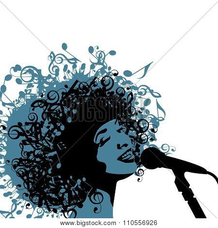 Head of Woman with Hair as Musical Symbols on a White Background