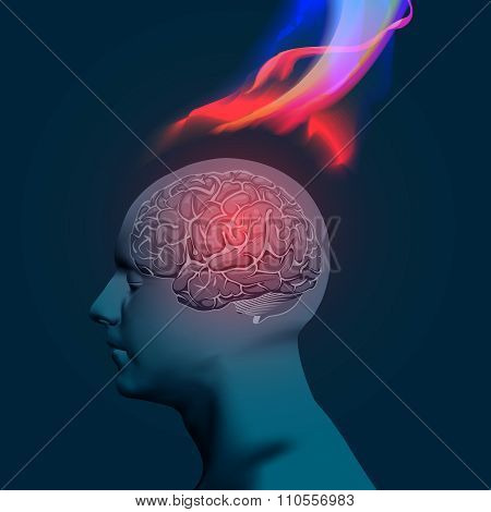 Vector Illustration of Headache with Flames