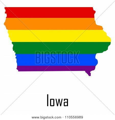 Vector Rainbow Map Of Iowa In Colors Of Lgbt - Lesbian, Gay, Bisexual, And Transgender - Pride Flag.