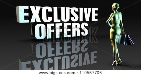 Exclusive Offers as a Concept with Lady Holding Shopping Bags