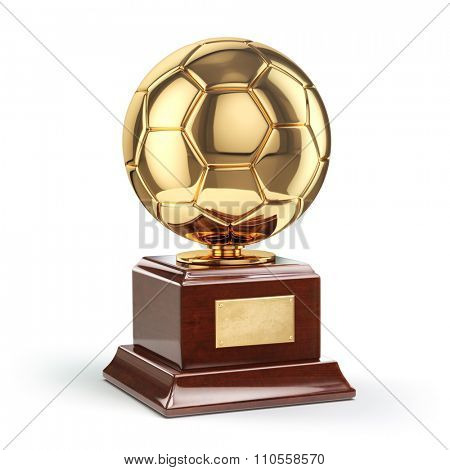 Football or soccer award. Golden trophy cup isolated on white. 3d.