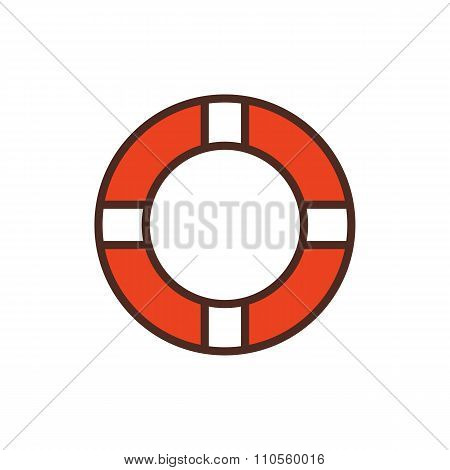 Lifebuoy outline color icon, modern minimal flat design style. Vector illustration