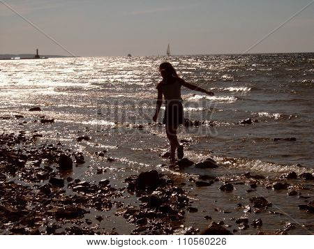 Girl Wades in Lake Michigan