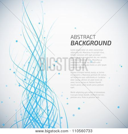 Abstract blue waves background with dots
